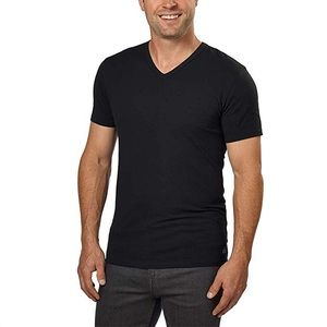 Calvin Klein Black Cotton Stretch V-Neck T-Shirt.